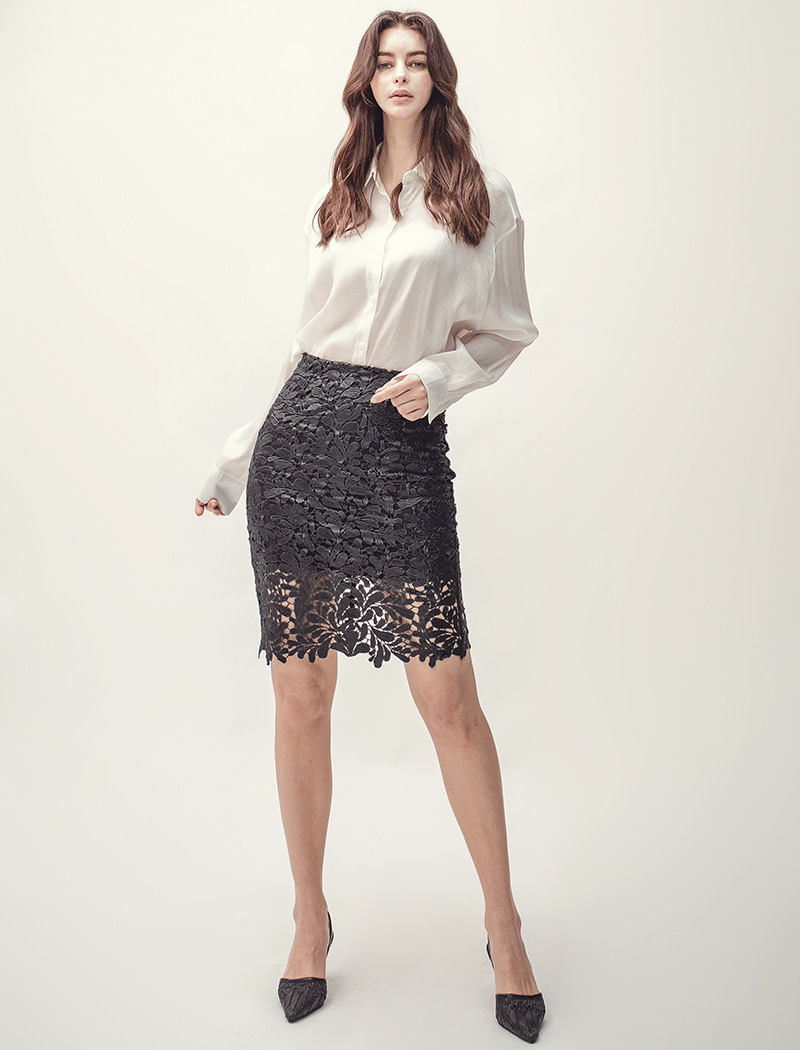 [YWZ]H Lace Skirt - Black